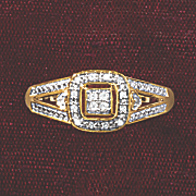 postpaid diamond square frame ring