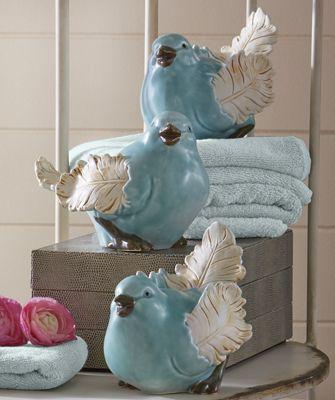 Set of 3 Bluebird Figurines