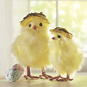 set of 2 yellow chicks