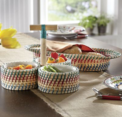 Woven Bread Basket & Condiment Caddy