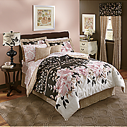 8-Piece Capri Printed Complete Bed Set, Accent Pillow and Window Treatments
