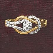 postpaid diamond round cluster loop ring
