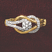 postpaid diamond round cluster loop ring