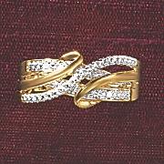 postpaid diamond 3 row wrap ring