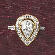 postpaid diamond pear cluster frame ring