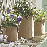 set of 3 burlap plant holders