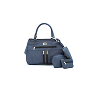 3 piece denim turnlock bag set