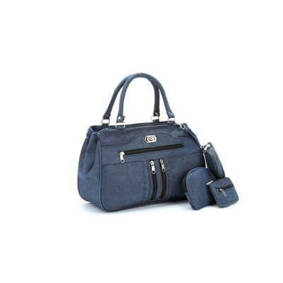 3-Piece Denim Turnlock Bag Set
