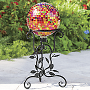metallic gazing ball with stand