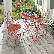 scrolled red bistro table chairs
