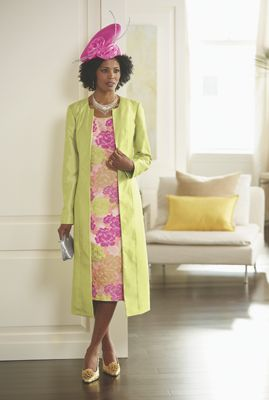 Ashro Fashions Plus Size Clothing Peony Jacket Dress and Hat