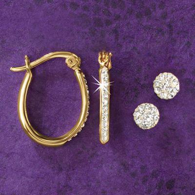 2-Pair Swarovski Crystal Post and Hoops Set