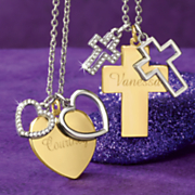 name 3 charm two tone pendant