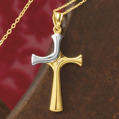 Gold Two-Tone Cross Pendant
