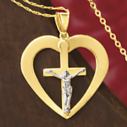 postpaid gold two tone crucifix heart pendant