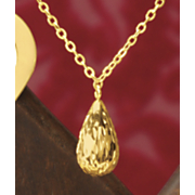 14k gold diamond cut tri pear necklace