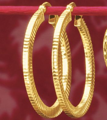 Gold Ribbed-Edge Hoops