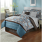 Cecilia Teal Complete Bed Set, Decorative Pillow and Window Treatments