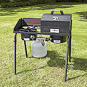 Explorer High Output 2 Burner Stove Camp Stove BBQ Box and Flat Griddle by Camp Chef