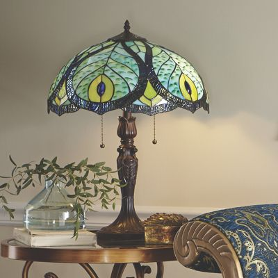 Stained Glass Peacock Table Lamp