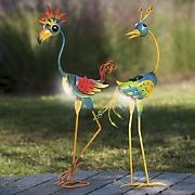 set of 2 solar coo coo birds