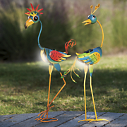 set of 2 solar coo coo birds