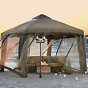 two tone gazebo with screen