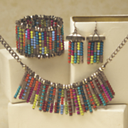 multicolored bead necklace and earring set
