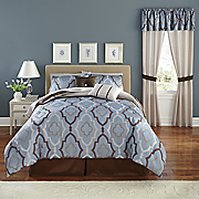 10-Piece Chique Blue Complete Bed Set and Window Treatments