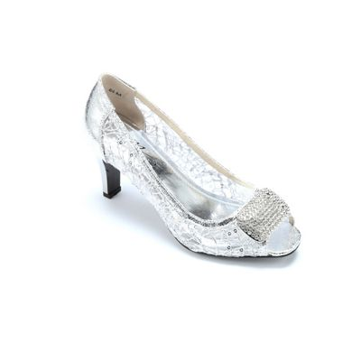 Lacy Sequin Open-Toe Pump by Midnight Velvet