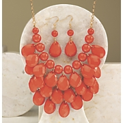 faceted pear necklace earring set