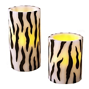 s 2 zebra striped flameless candles