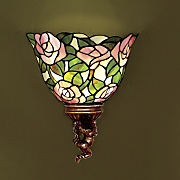 rose bouquet stained glass led wall lamp