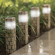 4 piece solar faux brick pathway light set