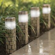 4 piece solar faux brick pathway light set
