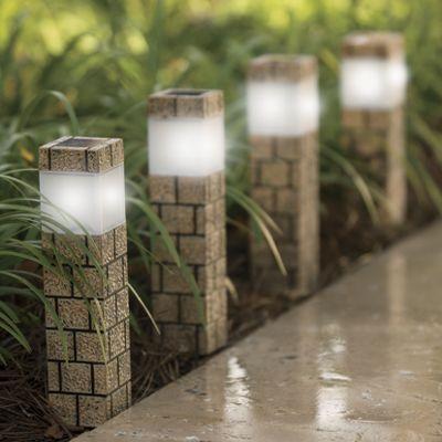 4-Piece Solar Faux Brick Pathway Light Set