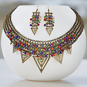 triangle bead and mesh necklace