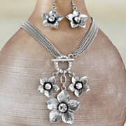 floral multistrand toggle necklace earring set