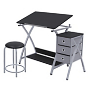 3 piece adjustable art desk drawer set drawing table