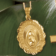 10k gold guadalupe pendant