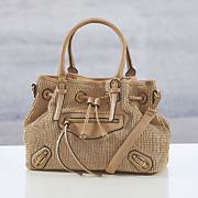 drawstring mixed textured bag
