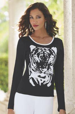 Tiger Face Mesh Top