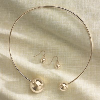 Spheres Collar and Earrings Set