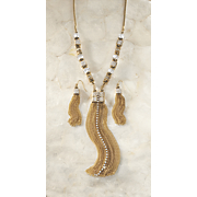crystal tassel necklace earring set