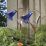 set of 2 solar flower lights