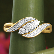 postpaid diamond 3 stone swirl ring