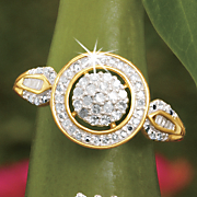 postpaid diamond round frame ring