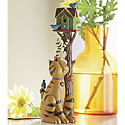 cat with birdhouse figurine by williraye studio
