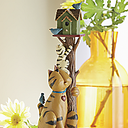 cat with birdhouse figurine by williraye studio