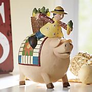 pig with girl and corn figurine by williraye studio